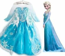 HOt Frozen Elsa Anna Costume Disney Princess Girls Child Fancy Outfit Long Dress
