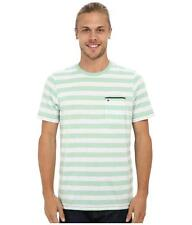 Hurley Nike Dri-Fit Captain Knit Crew Tee Mens Green Striped Shirt New NWT