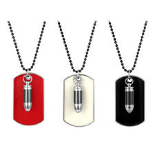 Alloy Army Military Bullet Black Dog Tag Mens Pendant Necklace Chain Link Choker