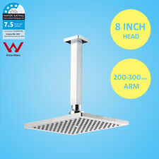 WELS 8'' Square Rainfall Overhead Rain Shower Head &  200/300mm Ceiling Arm Set