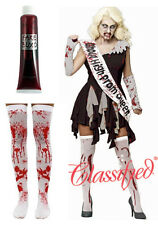 Zombie Prom Queen Halloween Horror High School Classified Blood Dress Tights