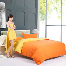 Orange Yellow Single Double Queen King Size Bed Set Pillowcase Quilt Duvet Cover