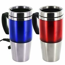TRAVEL MUG HEATED USB DOUBLE INSULATED TRAVEL HOME OFFICE STAINLESS STEEL 12v