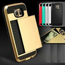 Hybrid Armour Hard Back Card Storage Slide Case Cover For Various Mobile Phones