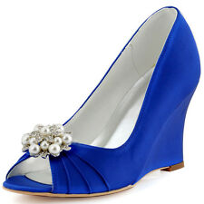 WP1549 Blue Peep Toe Prom Wedges Satin Shoe Clips Pleated Wedding Party Shoes