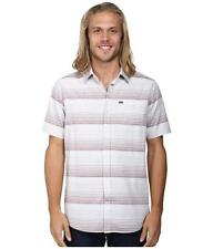 Hurley Troop Button Up Woven Shirt Mens Gray Burgundy Striped Short Sleeve NWT