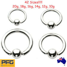 316L Steel Captive Ball Closure Ring BCR Ear Nose Lip Nipple Hoop Body Piercing