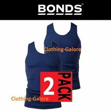 BONDS 2 PACK NAVY CHESTY COTTON SINGLETS UNDERWEAR MENS SINGLET VEST - FREE POST