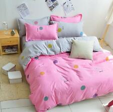 Smile Pink Single Double Queen King Size Bed Set Pillowcase Quilt Duvet Cover