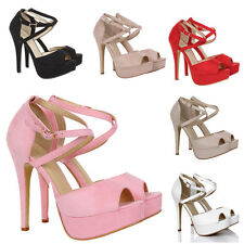 WOMENS PEEP TOE STRAPPY PLATFORM STILETTO LADIES HIGH HEEL SANDAL SHOES SIZE 3:8