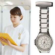 Rhinestone Dial Nurse Doctor Brooch Quartz Pendant Stainless Steel Pocket Watch