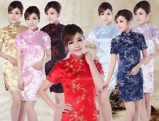 Sexy Chinese Women's Silk Satin  Mini Cheongsam Coat Plum flower Dresses