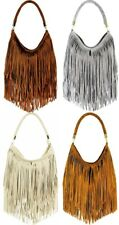 Handbag Bliss Genuine Italian Suede Tassel Slouch Handbag Shoulder Bag New Style