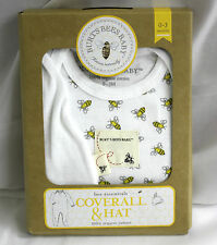 Burts Bees Baby Two Piece Outfit white allover bees footed Organic hat coverall