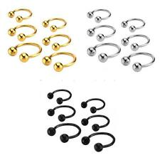Stainless Steel Ball Septum Horseshoe Nose Ear Ring Body Piercing Jewelry 3 Size