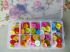 100 COLOURFUL BUTTONS SET IN STORAGE BOX, CRAFT MAKING,SCRAPBOOKING,CARD DESIGN
