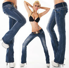 Sexy Women's Hipster Jeans blue wash creased effects Bootcut Jeans Belt 6-14