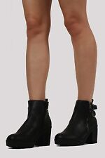 PILOT® Buckle Detail Cleated Ankle Boots in Black