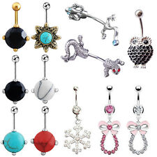 New Rhinestone Bowknot Steel Ball Button Piercing Belly Bar Navel Ring Alluring