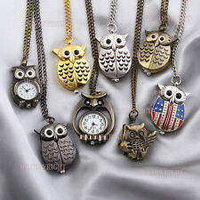 Vintage Cute Owl Shape Pocket Watch Metal Quartz Necklace Chain Watch Kids Gift