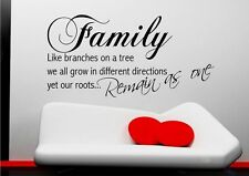 FAMILY ROOTS LIFE BRANCHES QUOTE WALL ART STICKER TRANSFER DECAL MURAL STENCIL