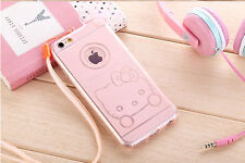 Hello Kitty  Bling Glitter Silicone  Rubber Case For iPhone 5/5S 6 Plus 6s Plus