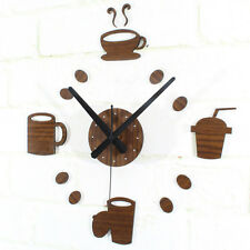 DIY Wall Clock Coffee Cup Creative Art Decor Watch Kitchen Bar