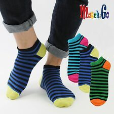 Meisterin Match&Go 8prs Women Men Color Stripe No Show Cotton Socks Korea