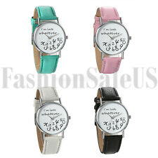 Women Whatever,I am late anyway Funny Leather Band Quartz Nice Wristwatch Watch