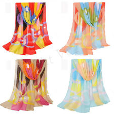 Women Colorful Girls Long Soft Wrap Lady Shawl Silk Chiffon Scarf Wraps New 54