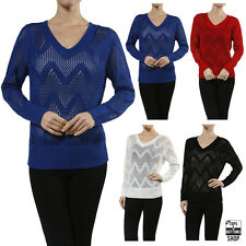New Women's Long Sleeves V Neck Pointelle Knit Sweater Top Size S M L