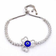 Sterling Silver 925 Clover Bracelet High Quality Turkish Evil Eye Bracelet #9393