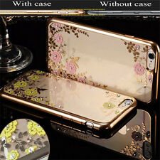 Crystal Rubber Plating Bumper Soft Clear TPU Flower Case For iPhone & Samsung