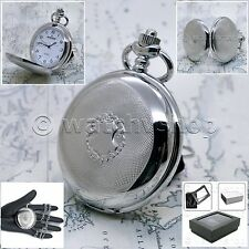 SILVER Antique Style Steampunk Mens Quartz Pocket Watch Fob Chain Gift Box P134
