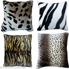 NEW FAUX FUR ANIMAL PRINT CUSHION COVERS SOFT & LUXURY CUDDLY COVERS