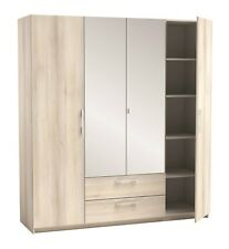 San Diego Bedroom Range Mirrored Wardrobes, Chest of Drawers, Bedside Cab- Maple
