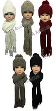 New Womens Ladies Woolly Thick Knit Hat Scarf And Mitten Gloves Set In 5 Colours