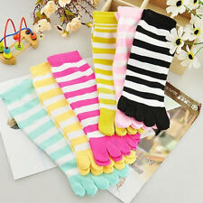 Lot 1/6 Pairs Warm Thick Cotton Socks Five Fingers Colorful Stripe Toe Socks