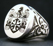 SIGNET RING ANTIQUE CUSTOM ENGRAVED SILVER 18MM X 15MM XL OXIDIZED OR POLISHED