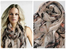 Women Begonia Flower Warm Soft Neck Scarf Shawl Wrap Stole Long Chiffon Stylish
