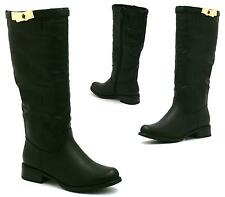 Womens Under Knee Zip Up Gold Trim Ladies High Calf Riding Boots Style Size