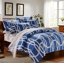 Zip Single Queen King Size Soft Blue Warm Bed Set Pillowcase Quilt Duvet Cover O