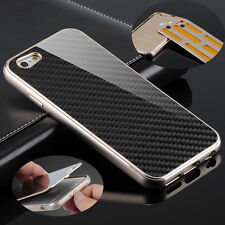 Deluxe Metal Aluminum Frame Carbon Fiber Back Case Cover For iPhone 6S & 6S Plus