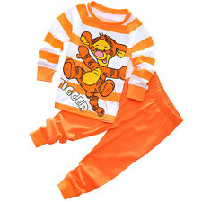 Kids Baby Boys Girls Clothes Cotton Pajama Set Tigger Winnie the Pooh Sleepwear