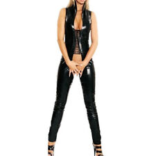 Hot Sexy Lingerie Faux Leather Crotchless Catsuit Jumpsuit Fetish Gothic Costume