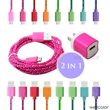 2in1 Braided Micro USB Charging Data Cable+AC Wall Charger for Galaxy HTC LG