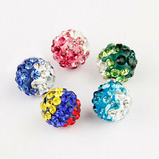 20Pcs 10mm Czech Crystal Rhinestones Pave Clay Round Disco Ball Spacer Beads