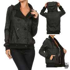 New Women's Double Breasted Fleece Lined Knit Jacket with Drawstring Hood S M L