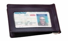 Winn International Cowhide Napa Leather Credit Card Holder w/Money Clip