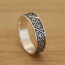Solid 925 Sterling Silver Celtic Trinity Knot Oxidized Band/Thumb Ring N-Z+Sizes